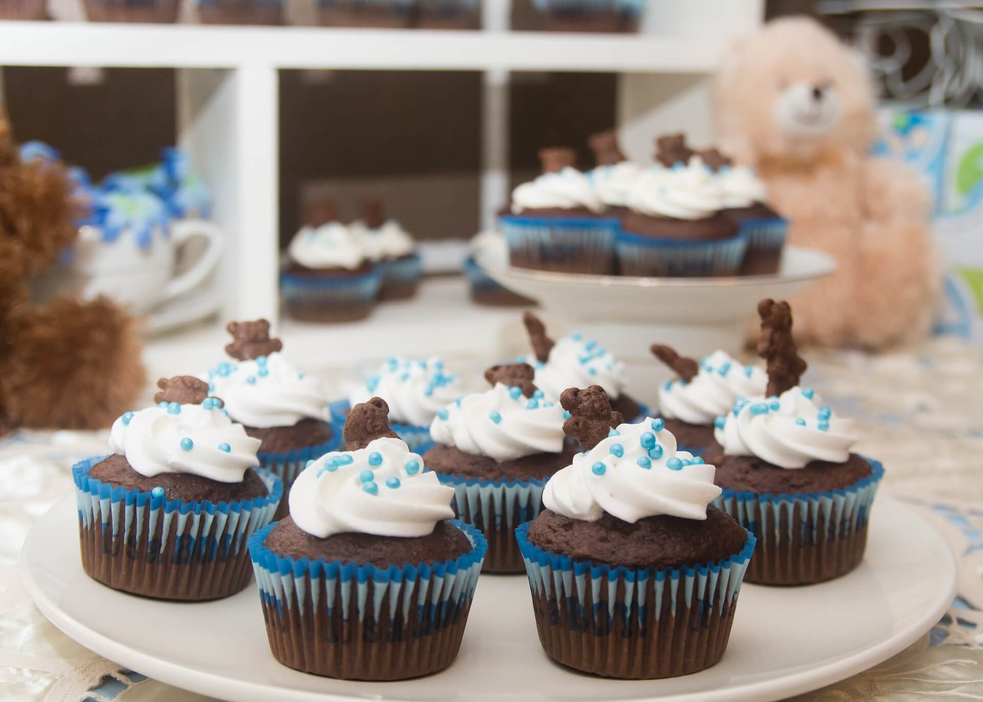 cupcakes du buffet sucré d'un baby shower